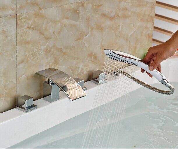 Bathroom Faucet Chorme Finish Faucet Deck Mounted Mixer Tap 5pcs Elegant Faucet комплектующие для раковин hangzhou elegant bathroom 88888