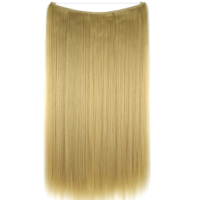 "TOPREETY Heat Resistant B5 Synthetic Fiber 24"" 60cm 100g Silky Straight Elasticity Wire Halo Hair Extensions"