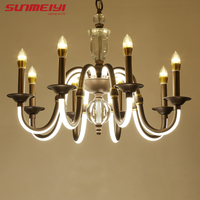 American Style Modern Candle Chandelier Lighting Curved Arm Glows Lustres Para Quarto Wrought Iron Chandelier Home