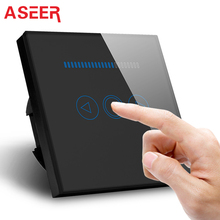 Wall-Switch ASEER 500W Black-Color 220v Home EU Glass Standard-Tempered-Crystal