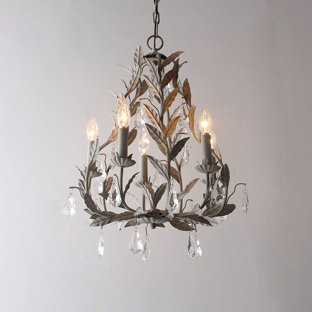 American Country Wrought Iron Chandelier Crystal Lamp European Style Simple Nordic Rural Retro Old Children S Room