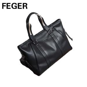 Image 5 - Повседневная Сумка тоут, мужская сумка через плечо, портфель для ноутбука, мужская из искусственной кожи сумка, брендовая деловая ручная сумка, мужские сумки, сумки FEGER