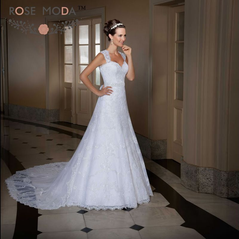Lace Wedding Gown With Cap Sleeves: Cap Sleeves Lace A Line Wedding Dress With Detachable