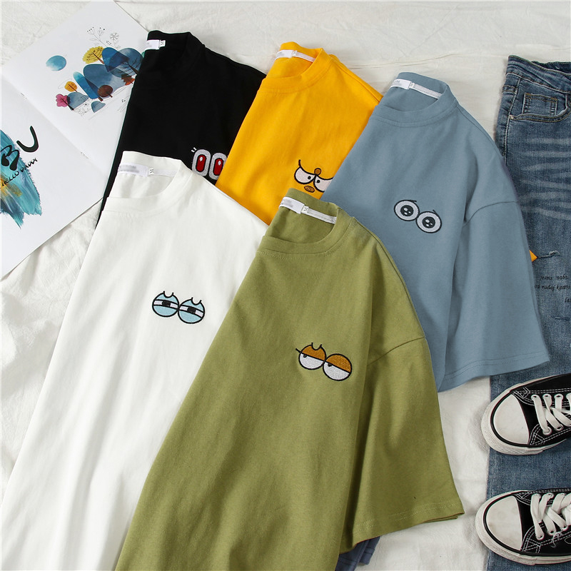2019 Tshirt Women's Casual Harajuku O-Neck Tee Shirt Femme Kawaii Cartoon Embroidery Short Sleeve Korean Loose Hip Hop T-Shirts