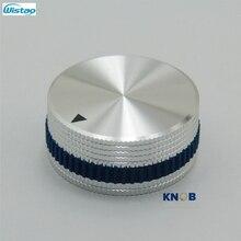 IWISTAO Mistura Sólida Botão Do Potenciômetro De Alumínio Inteiro para HIFI Volume Mudar Diâmetro 40mm Alta 18mm Prata DIY Livre grátis