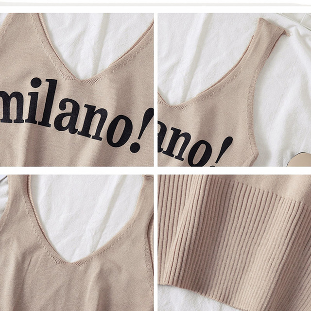 HELIAR Tops Female Sexy Crop Top Fashion Lettering milano Camisoles Lady Chic White Crop Top Femme Summer Knit Tank Tops women 10