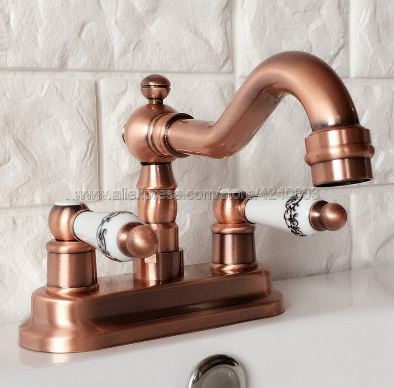 Antique Red Copper Deck Mounted 4 Centerset 2 Hole Bathroom Basin Faucet Swivel Spout Hot and
