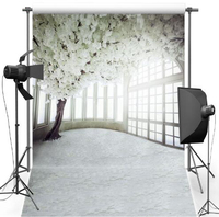 Customized Photography Interior White Flowers Computer Digital Printing Fabric Background Photography Factory S 2316