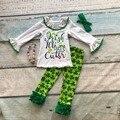 Nova chegada do bebê meninas outfits crianças roupas meninas Trevo Feliz Dia de São Patrício Shamrock pant com accessoreis