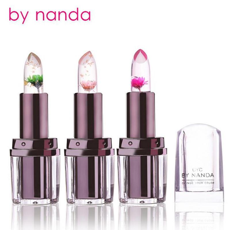 Changement de couleur persistante hygiénique transparent rouge à lèvres avec fleur décoratif cosmétiques pour femmes brillant à lèvres brillance nouvelle année cadeau