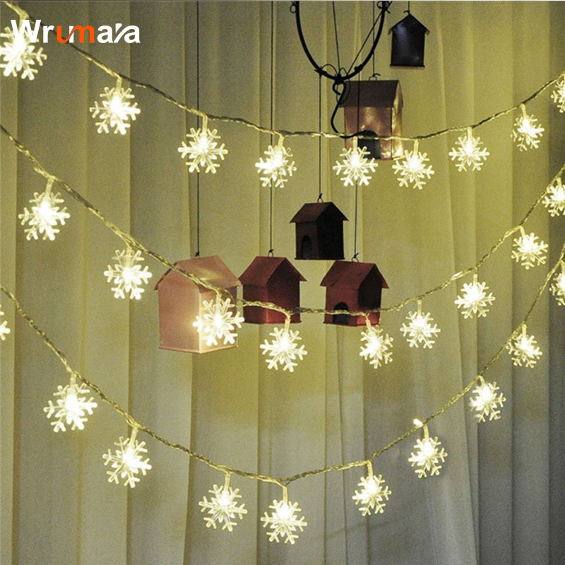 Wrumava USB 6M 40 LED Christmas Tree Snowflake String Fairy Lights New Year's Products natal Snow Lights For Christmas Tree