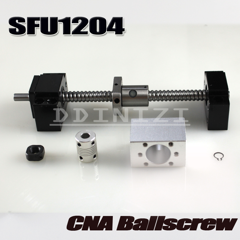 SFU1204 set:SFU1204 rolled ball screw C7 with end machined + 1204 ball nut + nut housing+BK/BF10 end support + coupler RM1204 12mm 1204 ball screw sfu1204 length 500mm plus 1pcs rm1204 ball nut cnc parts bk bf10 end machined free shipping