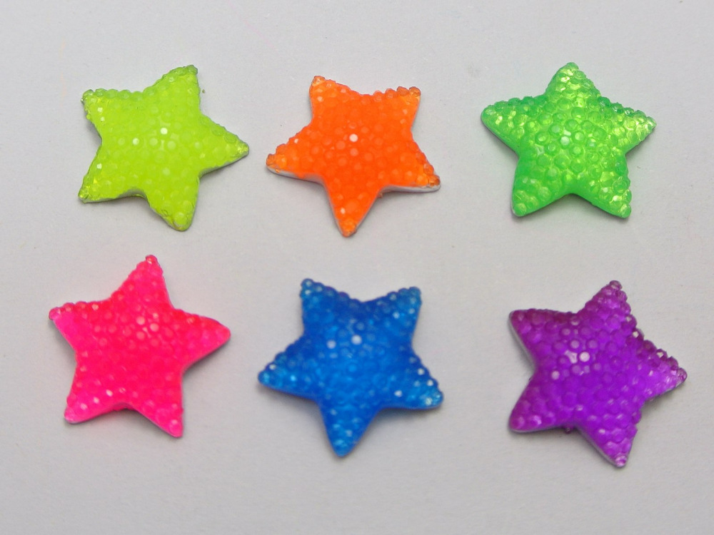 50 Mixed Neon Color Flatback Resin Cabochon Dotted Star Rhinestone Gems <font><b>15X15mm</b></font> image