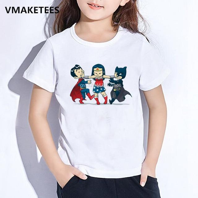 ae7b51070 Camiseta de verano para niñas y niños Camiseta con estampado de dibujos  animados súper infantil Superman/Batman/Mujer Maravilla bebé divertido ...