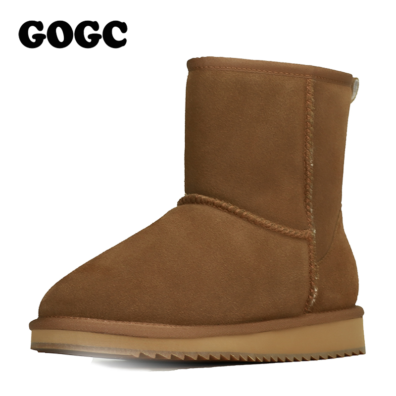 GOGC 2018 Genuine Leather Ankle Boots Womens Winter Boots Womens Winter Shoes Snow Flat Platform Women Shoes Female Footwear