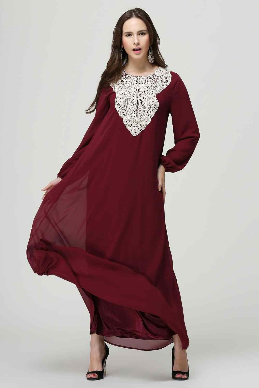 Tessuto Chiffon turco musulmano vestito manica lunga musulmano vestito abaya musulmano vestito delle donne abiti islamici aperto abaya in dubai 009