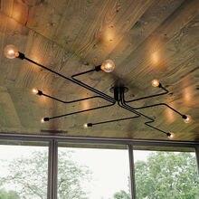 Старинные светильники потолочные утюг черный лампы для кафе-бар столовая промышленных оригинальный потолочный светильник 4 6 8 держатель