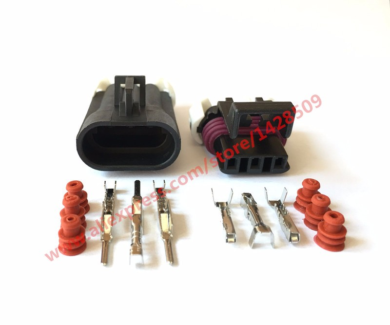 5 Sets <font><b>3</b></font> Pin Metri-Pack <font><b>150</b></font> Auto Wire Connector Male Female Delphi 1212961 / 12129615 12110293 Front Lamp Plug For CHEVROLET image