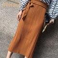 Vintacy vintage зеленый женщины юбки Бантом Лоскутная оболочка партия мода длинные женщины юбка свободные причинно середина длина макси юбки