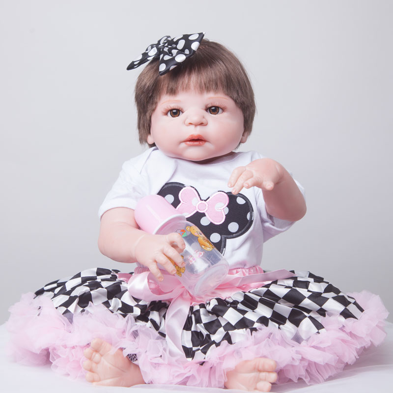 55cm Full Body Silicone Reborn Baby Doll Toys Lifelike Play House Toy Newborn Girl Baby Christmas Gift Birthday Gift Bathe Toy aiboully full range peppaed pig toys pvc action figur toy juguetes baby kid birthday gift brinque