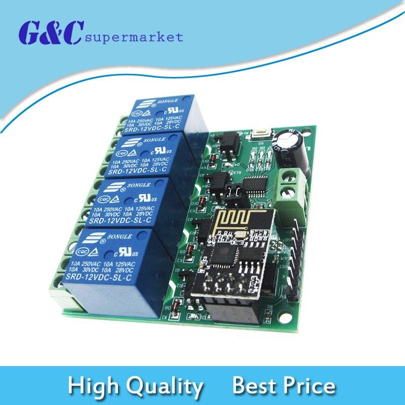 12 V 4 canal ESP8266 Wifi módulo de relé interruptor de Control remoto APP para casa inteligente