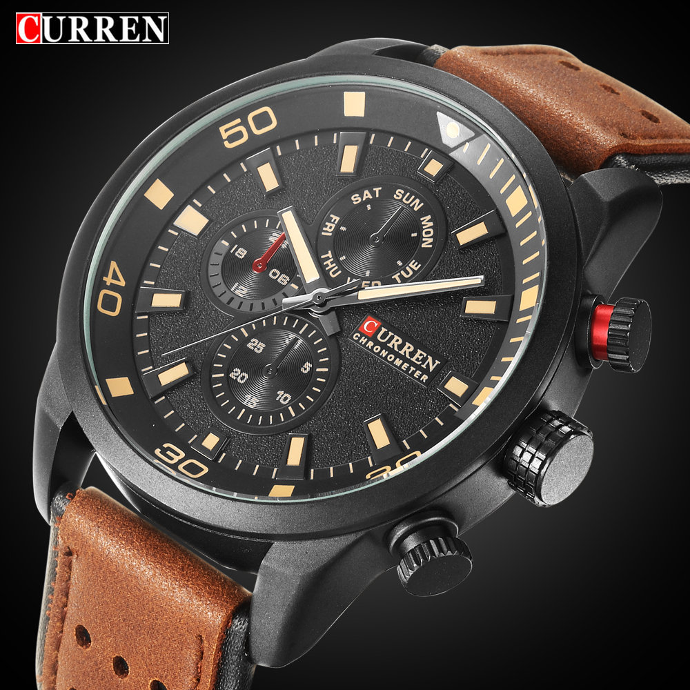 2017 Men's Fashion Business Watches Curren Brand Luxury Leather Strap Men Quartz Watch Classic Sport Style Male Clock Wristwatch цена и фото