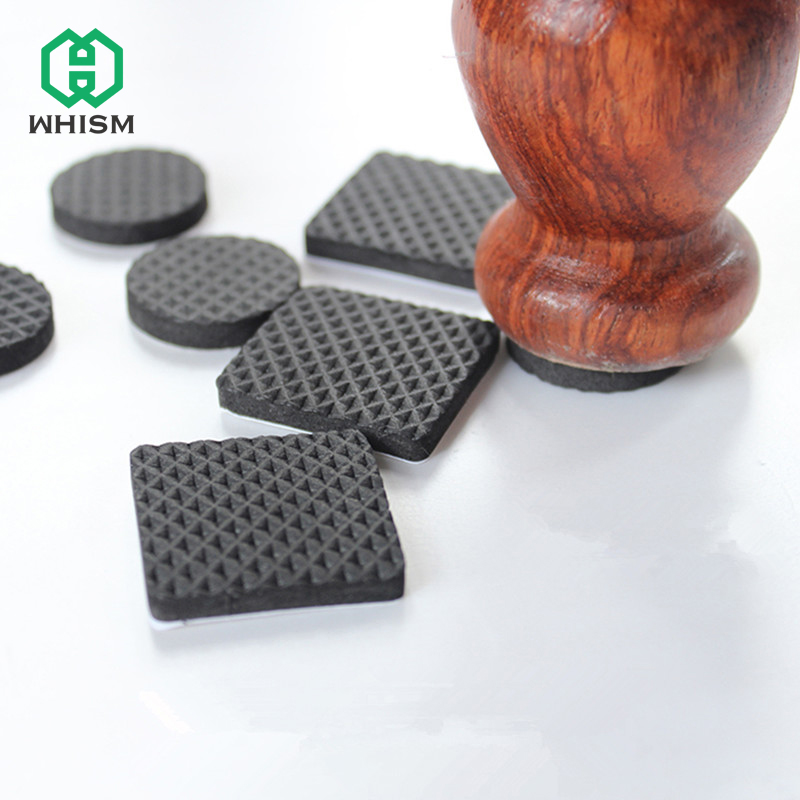 WHISM Black Self Adhesive Furniture Chair Protectors Feet Leg Pads Caps Floor Table Covers For 20-90MM Square Round Non-slip Mat