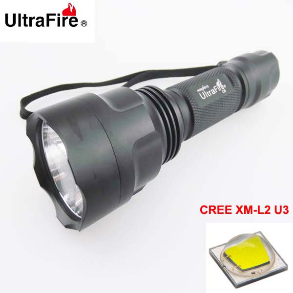 VUAN U-F C8 CREE XM-L2 U3 1800lm Cool White Light 3-Mode High>Low>Strobe OP LED Flashlight (1 x 18650) trustfire 3 led 3 mode 1100lm cool white light bike light grey purple 2 8 4 2v