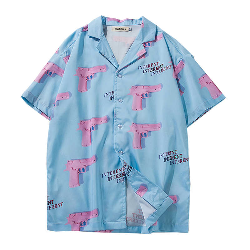Heat 2019 Summer Men's Fashion Boutique Printed Casual Loose Short-sleeved Shirt Hawaii Style Mens Shirts Pink Gun Full Printing