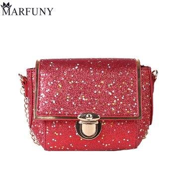 f561d924f571 MARFUNY Марка Mini Для женщин Курьерские сумки Мода лоскут кожа Crossbody сумки  Для женщин цепи дизайнер Сумки высокое качество Sac 2018