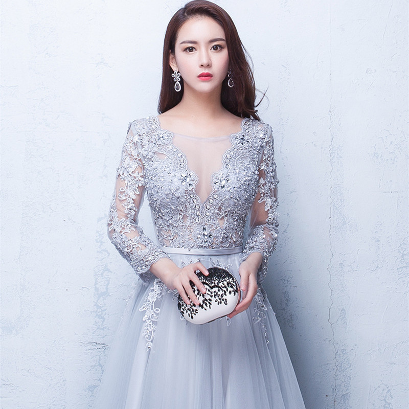 3649c1b81ea49 It's Yiiya New Three Quarter Illusion Backless Lace Up Flowers Elegant  Evening Dress Floor Length Party Gown Evening Gowns LX048
