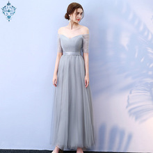 Ameision Long Purple Red Gray Woman Evening Dresses 2019 A-Line Off the Shoulder Half Sleeve Special Dresses robe de soiree цена 2017