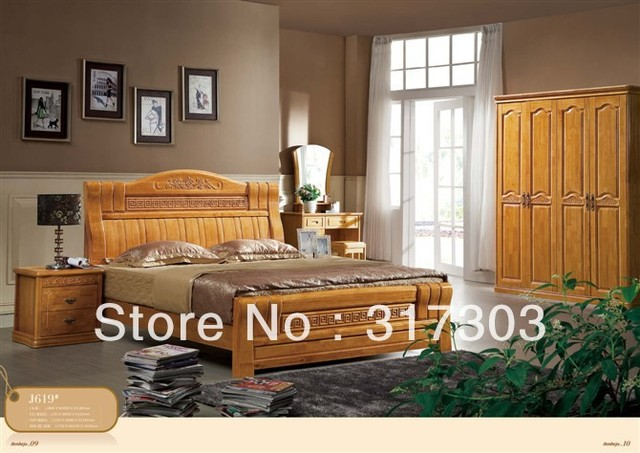 Factory wholesale solid oak wood double bed, modern design, bedroom furniture  solid wood bed- stand H619