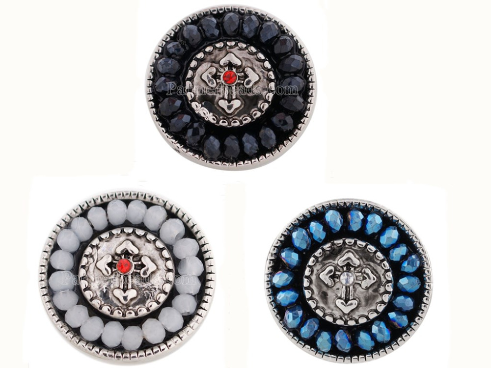 10pcs/lot Mixed 18MM Snap Jewelry Cross Designs Rhinestone Metal Snap Buttons fit 18mm Snap Bracelet Bangle Earrings Necklaces
