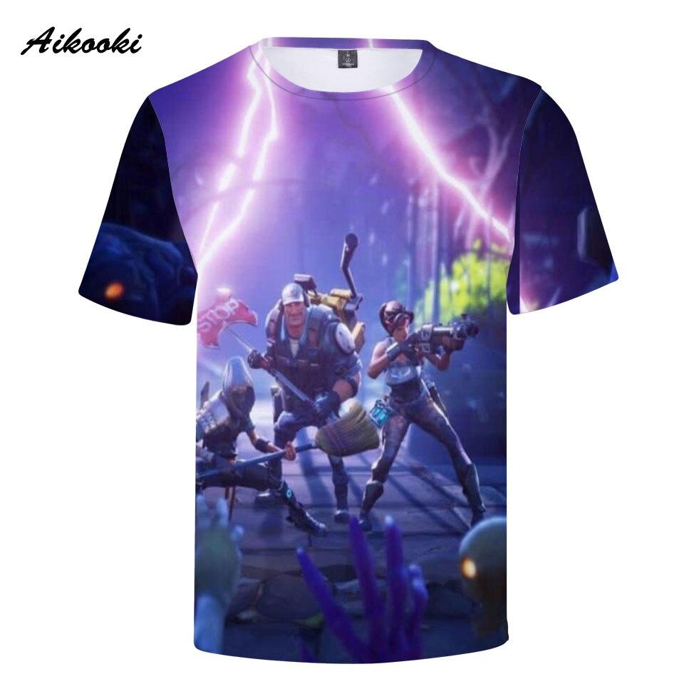 Aikooki 2018 Fortnite 3D Tshirt Men Women Cotton Summer Cool T-shirt 3D Printing Fashion Short-Sleeve T Shirts Game Fortnite Top