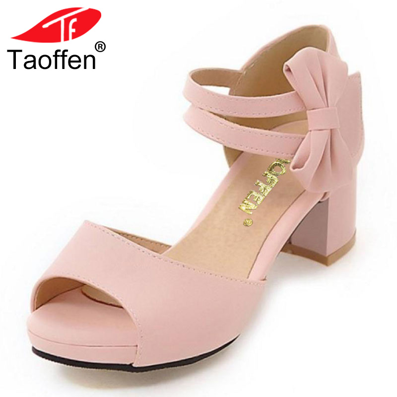 TAOFFEN Plus Size 31-47 Women Shoes Women Sandals Squared Heels Bowtie Bowknot Ankle Strapped Peep Toe Casual Fashion Footwear side bowknot embellished plus size sweatshirts page 8
