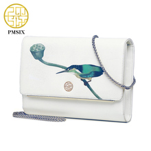 Pmsix 2017 Spring Summer Printing Women Genuine Leather Bag Fashion Small Chain Shoulder Bag Brand Clutch White Bags P220086