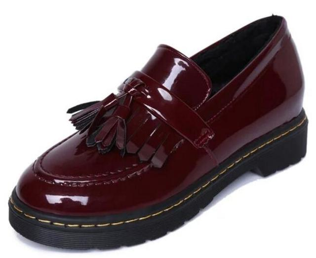 Patent Leather Oxfords Shoes Spring Vintage Tassel Platform Brogue Shoes Woman British Style Slip On Flats