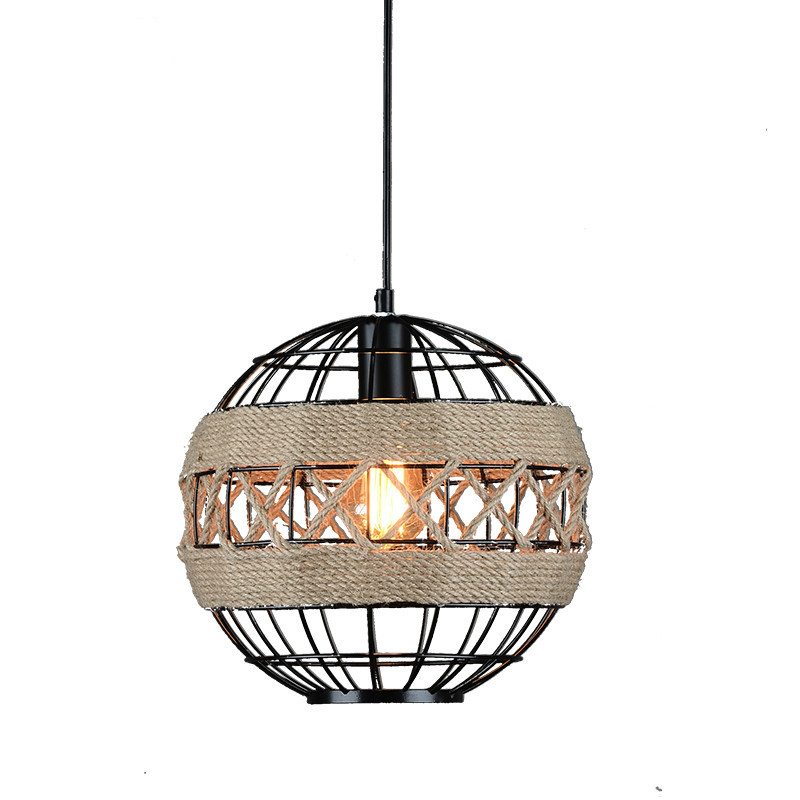 American creative iron ball personality rope twine chandelier light industrial retro restaurant E27 LED bulb chandeliers lamp american rural retro creative personality iron cage chandelier study restaurant chandeliers free shipping