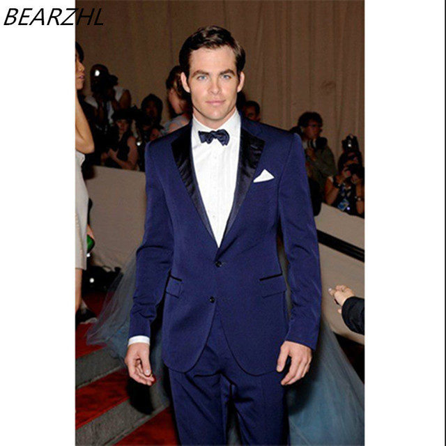 Men Wedding Tail Coat Suits Royal Blue Custom Made Suit Tuxedo Groom Two Piece