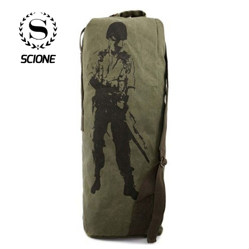 Scione Unisex Drawstring Travel Backpacks Military Multi-function Canvas Shoulder Bags Large Capacity Cylinder Portable Bagpack