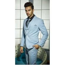 2017 Latest Light Blue Groom Blazer Men Suit Wedding Suits For Men Jacket Slim Fit mens Tuxedo suit 3 Piece Terno costume homme