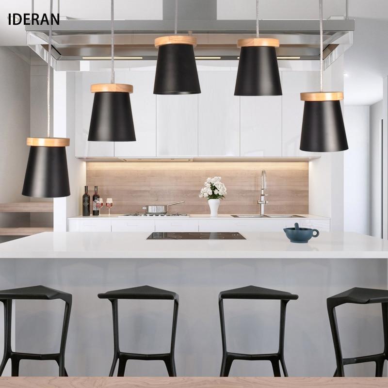 IDERAN Nordic Industrial Slope lamps Pendant Lights  Wood Aluminum Restaurant Bar Coffee Dining Room LED Hanging Light Fixture led pendant lamps nordic pendant lights