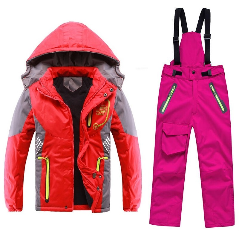 Winter Warm Waterproof Baby Boys Girls Climbing Clothing Sets Child Coat and Pant Children Outerwear Kids Sets 3 12 Years Old in Clothing Sets from Mother Kids