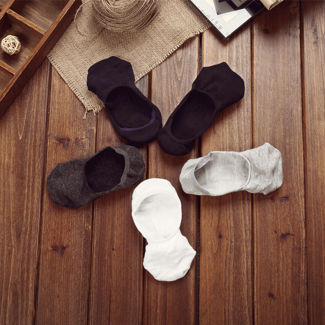 10 pieces = 5 pairs new Cotton men invisible socks men socks  silicone anti – skid, pure color summer socks
