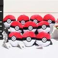 10pcs/lot Pokeball Ash Poke Ball Plush Pendants Toy Keychains With Ring Stuffed Soft Dolls Great Gift