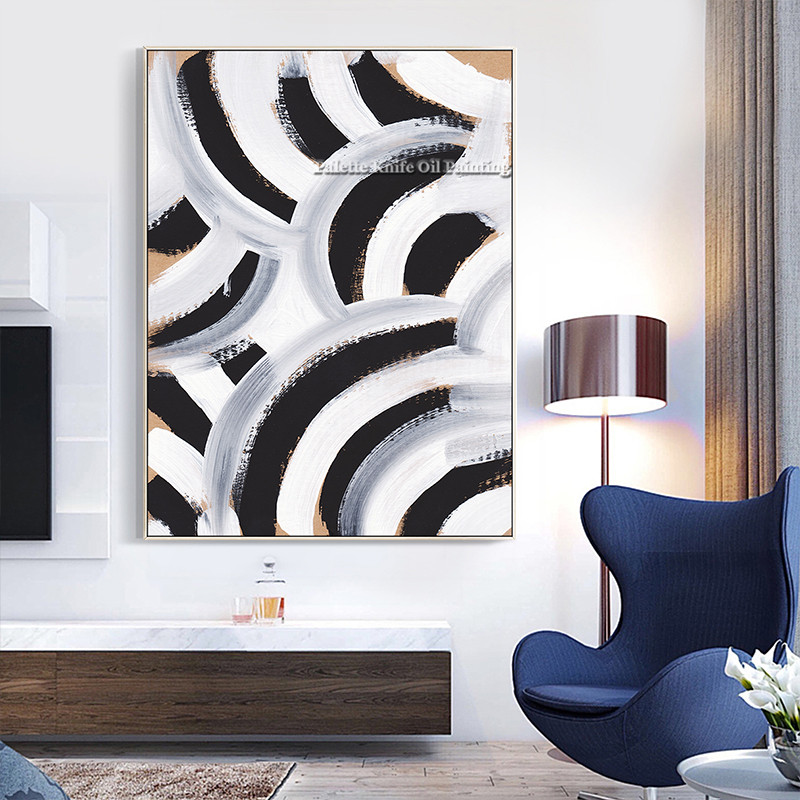 Black White Geometric Modern Abstract Oil Painting on Canvas Acrylic Quadros Cuadros Nordic Wall Art Pictures for living room in Painting Calligraphy from Home Garden