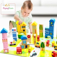 62 Pcs urban transportation Building Bricks Creative woodenToys For Child Educational enlightenment education toys