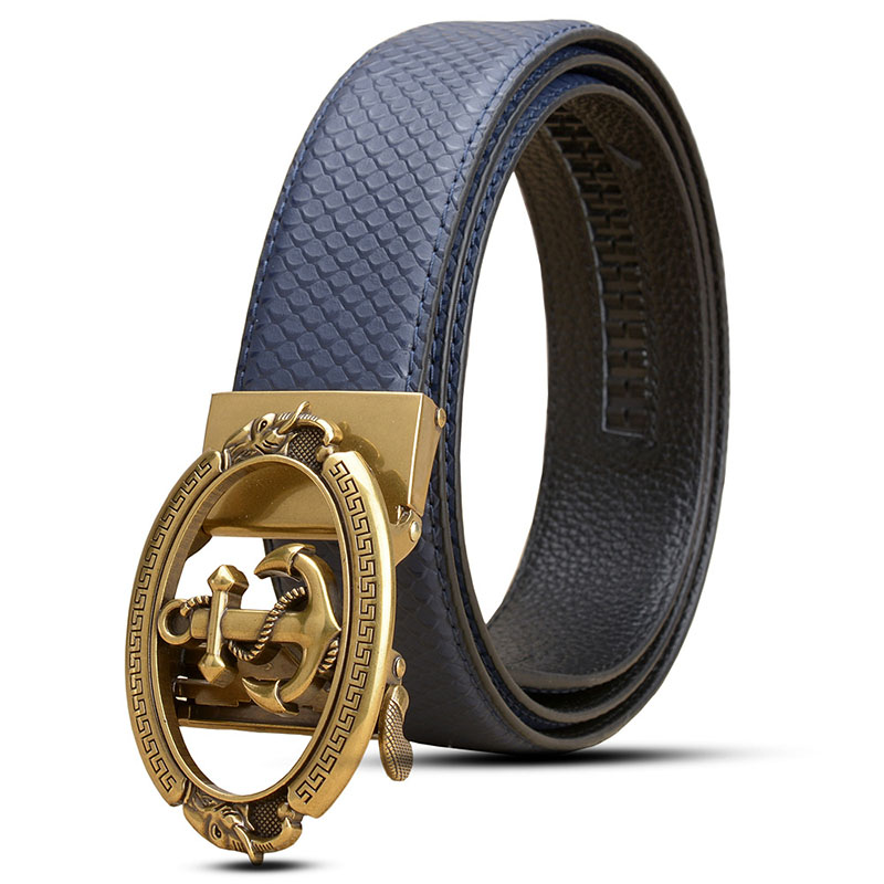 Ta-weo Men Business Cowhide Leather Belts, Snake Skin Striped Pattern Belt, Anchor Automatic Buckle Waistband