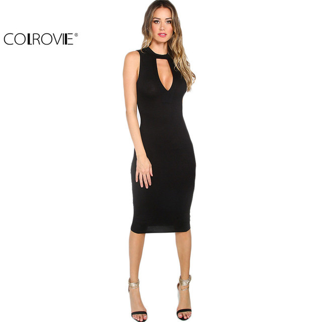 COLROVIE 2016 Summer Women's Sexy Work Wear Solid Black Cutout Front Round Neck Sleeveless Sheath Midi Dress